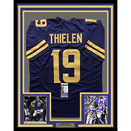 Framed AutographedSigned Adam Thielen 33x42 Minnesota Vikings Color  supplier