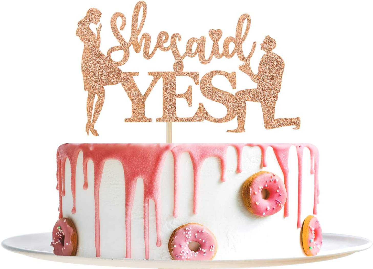 Gold Glitter She Said Yes Cake Topper Bachelorette Party Supplies Gold Bridal Shower Engagement Wedding Party Decorations