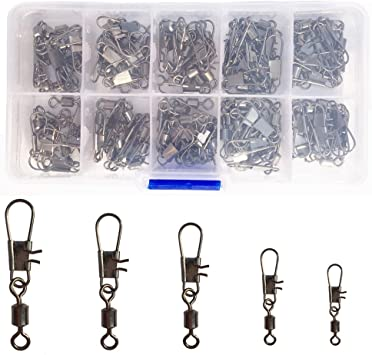 Set of 100pcs Useful Fishing Tackle Set Fishing Swivel with Interlock Snap