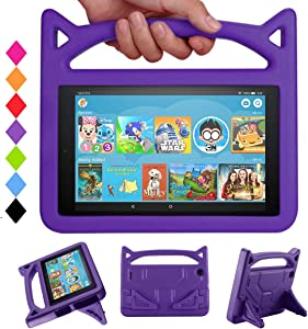 All-New HD 10 inch Tablet Case for Kids (9th/7th Generation, 2019/2017 Release)- Mr.Spades Light Weight Shock Proof Kid Proof Cover Kids Friendly Case with Stand - Purple