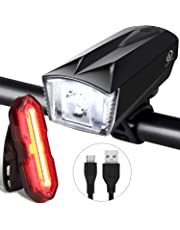 OMERIL Bike Light Set, Rechargeable Bicycle Lights with 300LM Waterproof Front Headlight and 100LM Tail Light, Adjustable Lighting Modes, Cycling Lights for Road & Mountain- Easy to Fit