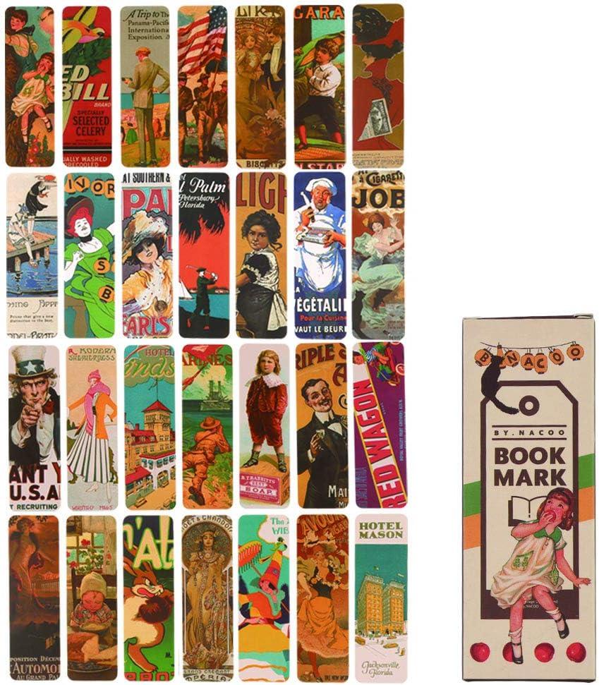 Marcadores de libros, Lychii paquete de marcadores de estilo vintage, 28 tipos de marcadores de papel de diseño retro (Set A)