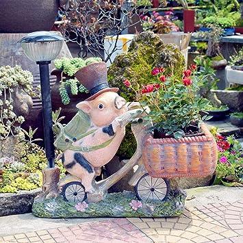 屋外ガーデンクリエイティブソーラーピッグポットガーデンデコレーションガーデニングレジンクラフトデコレーション-56 * 31 * 64cm A