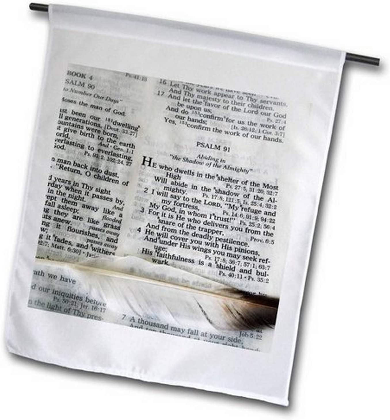 """3dRose fl_44028_1 Photograph of a Bible Open to Psalm 91 and Marked with Large Feather Garden Flag, 12 by 18"""""""