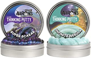 """product image for Crazy Aaron's Thinking Putty 4"""" Tin Double Pack (6.4 oz) - Super Illusions Super Scarab andCosmic Infinite Nebula - Multi-Color Sparkle Glow Putty- Never Dries Out"""