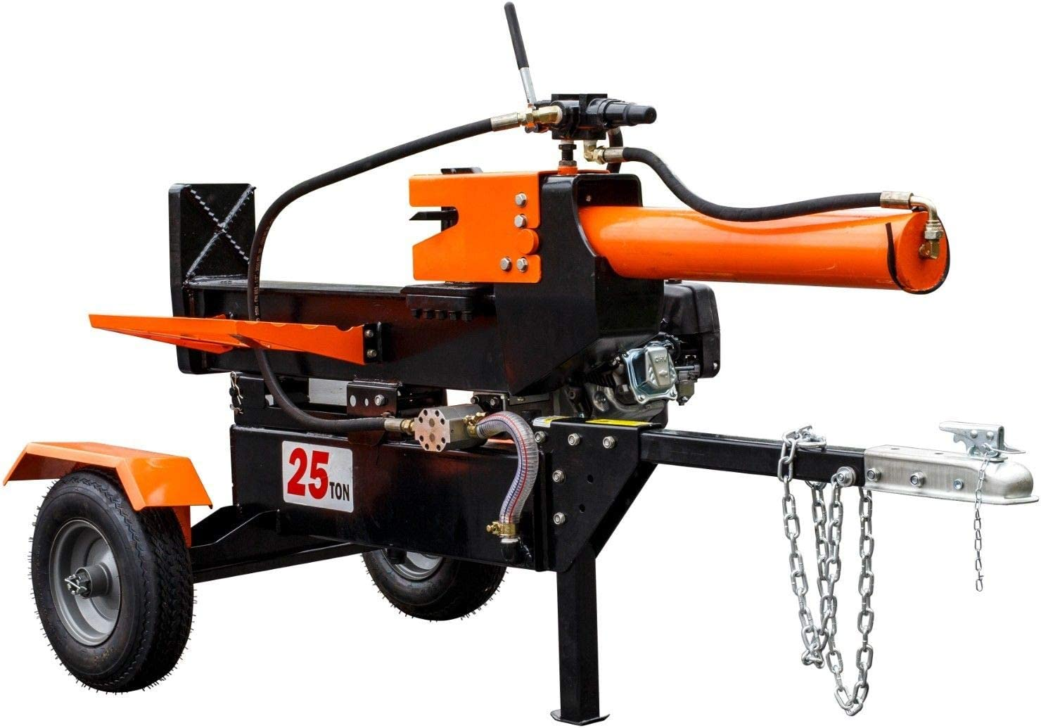 9TRADING 25-Ton Horizontal Vertical Full Beam Gas Hydraulic Log Splitter w Hitch Towing