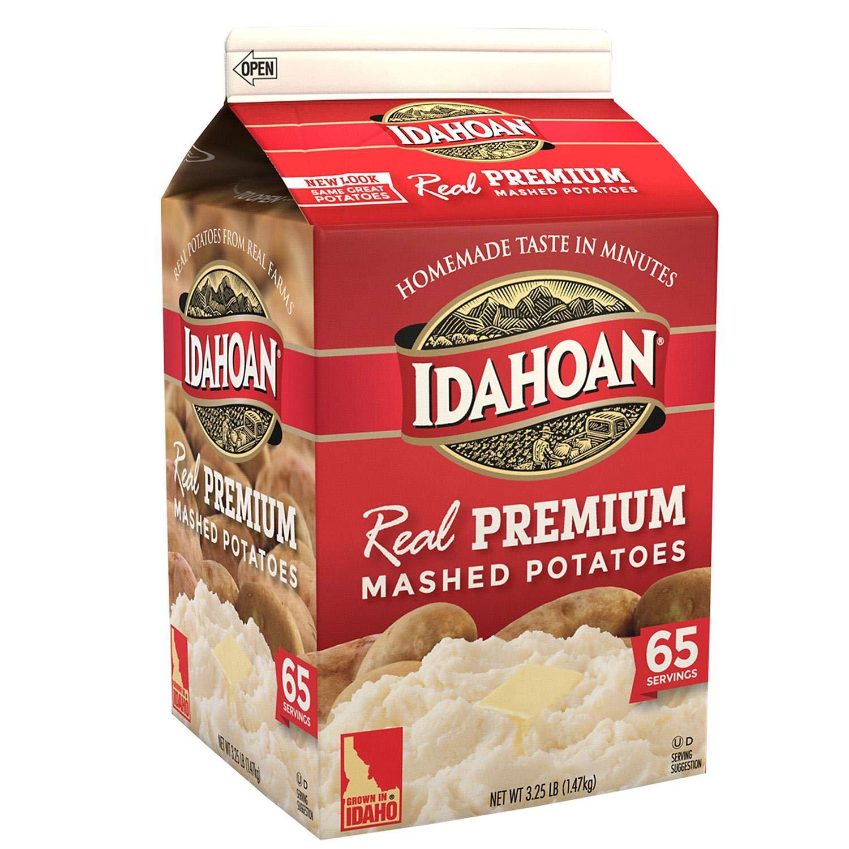 Idahoan Real Premium Mashed Potatoes, Made with Gluten-Free 100-Percent Real Idaho Potatoes,Value 2 Pack ( 3.25lb Carton Each )