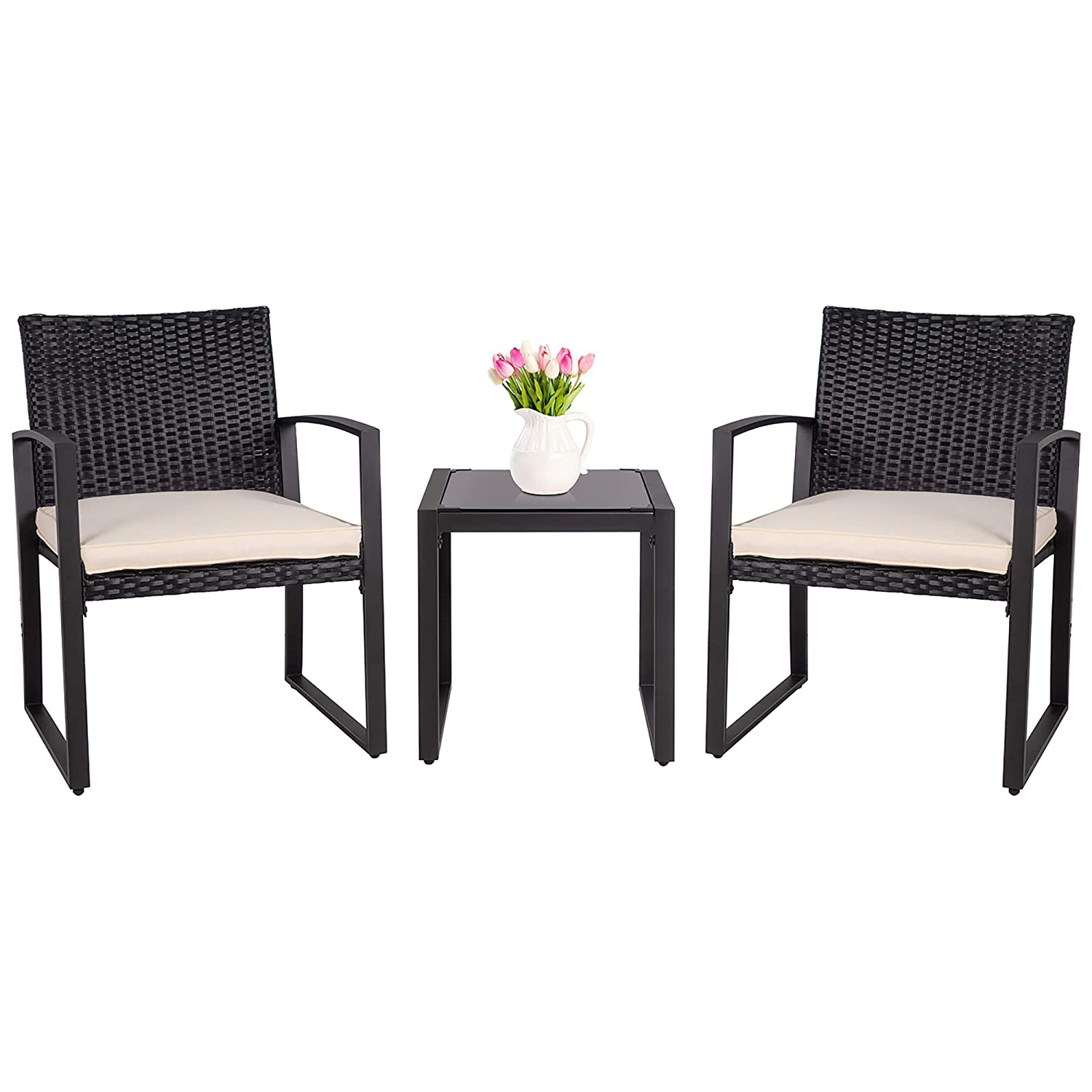 SUNLEI 3 Pieces Patio Set Outdoor Wicker Patio Furniture Sets Modern Bistro Set Molded Rattan Chair Conversation Sets with Coffee Table Black