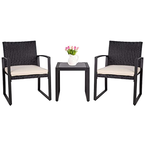 Admirable Sunlei 3 Pieces Patio Set Outdoor Wicker Patio Furniture Sets Modern Bistro Set Molded Rattan Chair Conversation Sets With Coffee Table Black Home Interior And Landscaping Staixmapetitesourisinfo