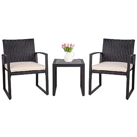 Amazon.com: SUNLEI - Juego de muebles de jardín de mimbre ...