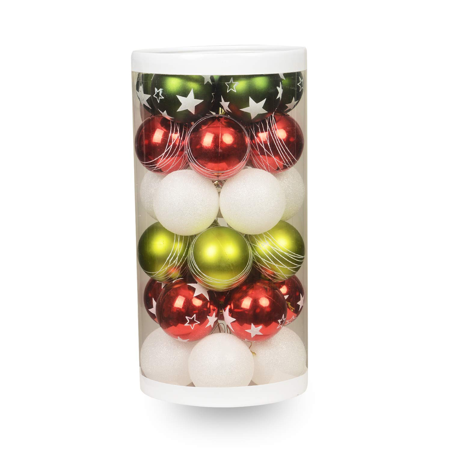 """ChristmasEXP 30ct 60mm/2.36"""" Christmas Ball Ornaments Shatterproof Christmas Decorations Tree Balls with Delicate Red&Green Combination Christmas Tree Ornaments (30 Pack)"""