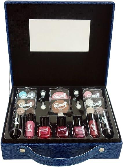 Gloss - caja de maquillaje, caja de regalo para mujeres - Caso Maquillaje - Semana de la Moda Azul - 27 piezas: Amazon.es: Belleza