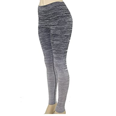 c194f175f1a479 Image Unavailable. Image not available for. Color: Women's Tights Active  Yoga Running Two Tone Full Length Pants - Black Gray ...