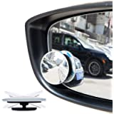 Blind Spot Mirrors Adjustable aokway Side Mirror Blind Spot Stick on Frameless Wide Angle Round HD Glass Convex 2pcs