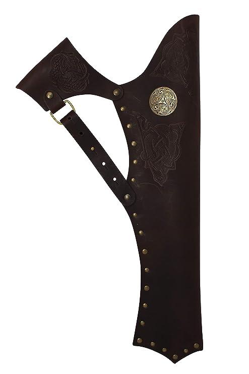 Erlebnis Mittelalter – Pfeilköcher aus Leder/Seiten-Trageweise mit Zierbeschlag und keltischer Prägung