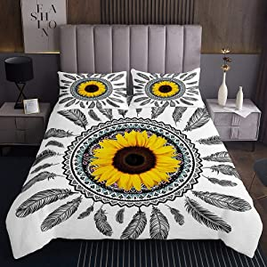 Erosebridal Girls Sunflower Bedspread King Size Dream Catcher Quilted Coverlet Feather Coverlet Set Indian Exotic Pastoral Style Bedding Set for Living Room Decor, Yellow Black White