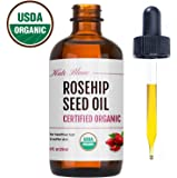 Rosehip Seed Oil by Kate Blanc. USDA Certified Organic, 100% Pure, Cold Pressed, Unrefined. Reduce Acne Scars. Essential Oil for Face, Nails, Hair, Skin. Therapeutic AAA+ Grade. 1-Year Guarantee (4oz)