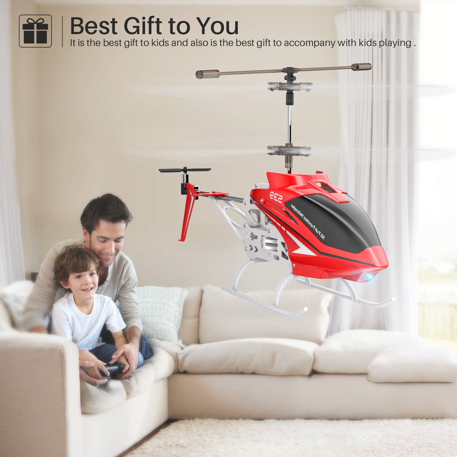 SYMA RC Helicopter, S39 Aircraft with 3.5 Channel,Bigger Size, Sturdy Alloy Material, Gyro Stabilizer and High &Low Speed, Multi-Protection Drone for Kids and Beginners to Play Indoor-Red by SYMA (Image #7)