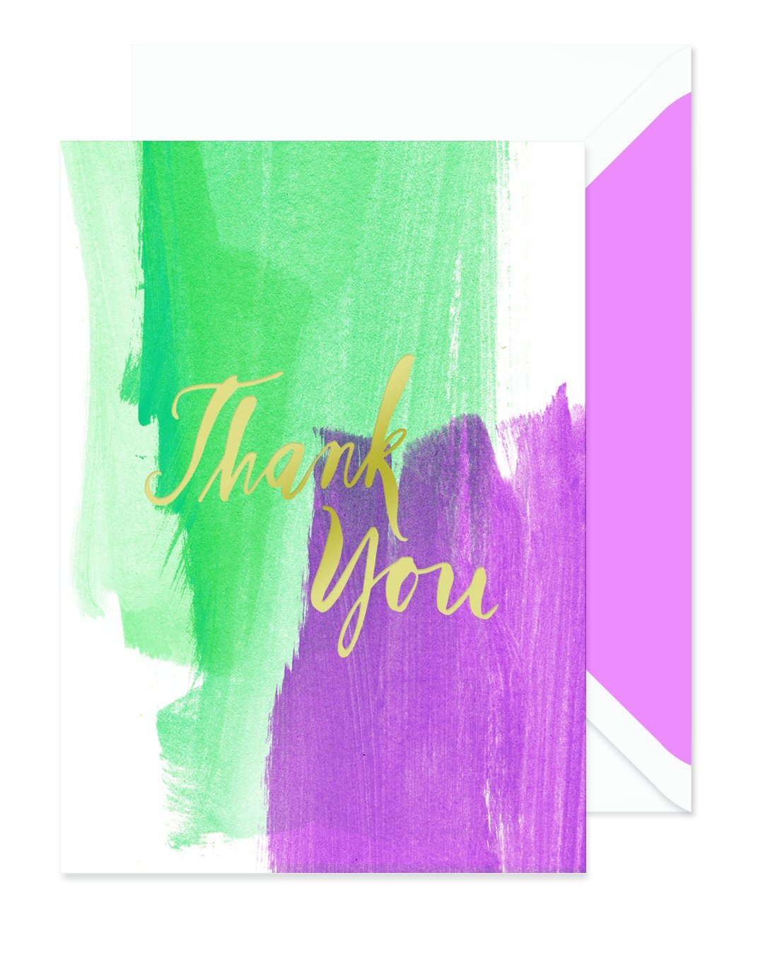 FRINGE STUDIO Green Brush Boxed Thank You Notes, 4.6875''x6.375'', 10 Cards & Envelopes (921101)