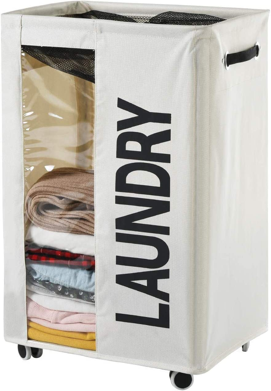 Haundry 85.8L Extra Large Laundry Basket Hamper on Wheels Clear Window Tall Dirty Clothes Hamper Organizer with Handles Collapsible Rolling Storage Bins Bathroom Bedroom