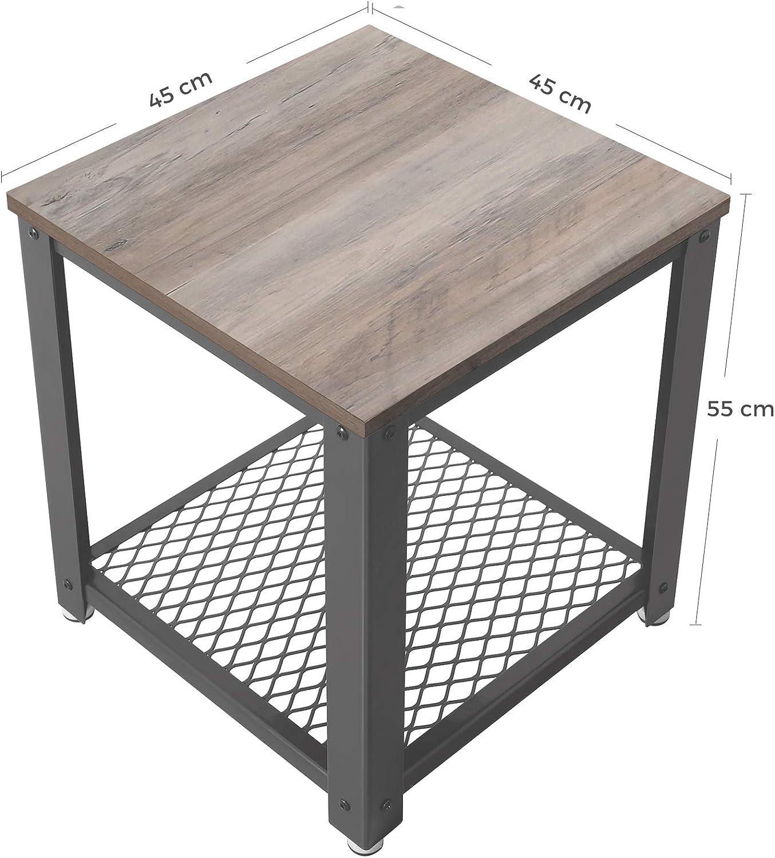 stabil Wohnzimmertisch Sofatisch Greige-grau LET41MG einfach zu montieren Wohnzimmer Nachttisch mit Metallgestell Holzoptik VASAGLE Beistelltisch Schlafzimmer