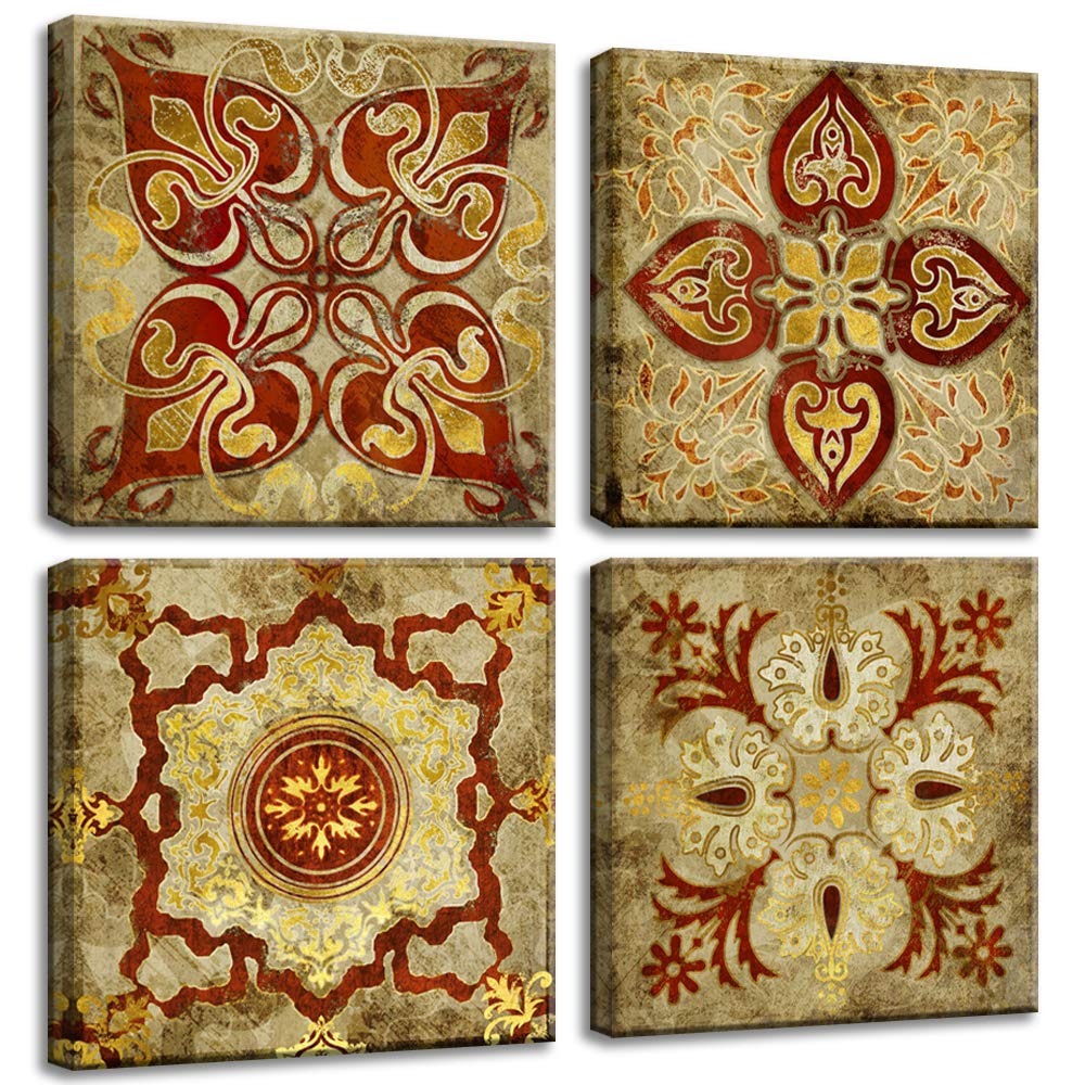 "4 Pieces Canvas Wall Art Prints Retro Moroccan Style Gold National Decoration Pattern India Home Decor Painting Pictures Posters Photos Livingroom Bedroom Framed Ready to Hang (12""x12""x4pcs, 2)"