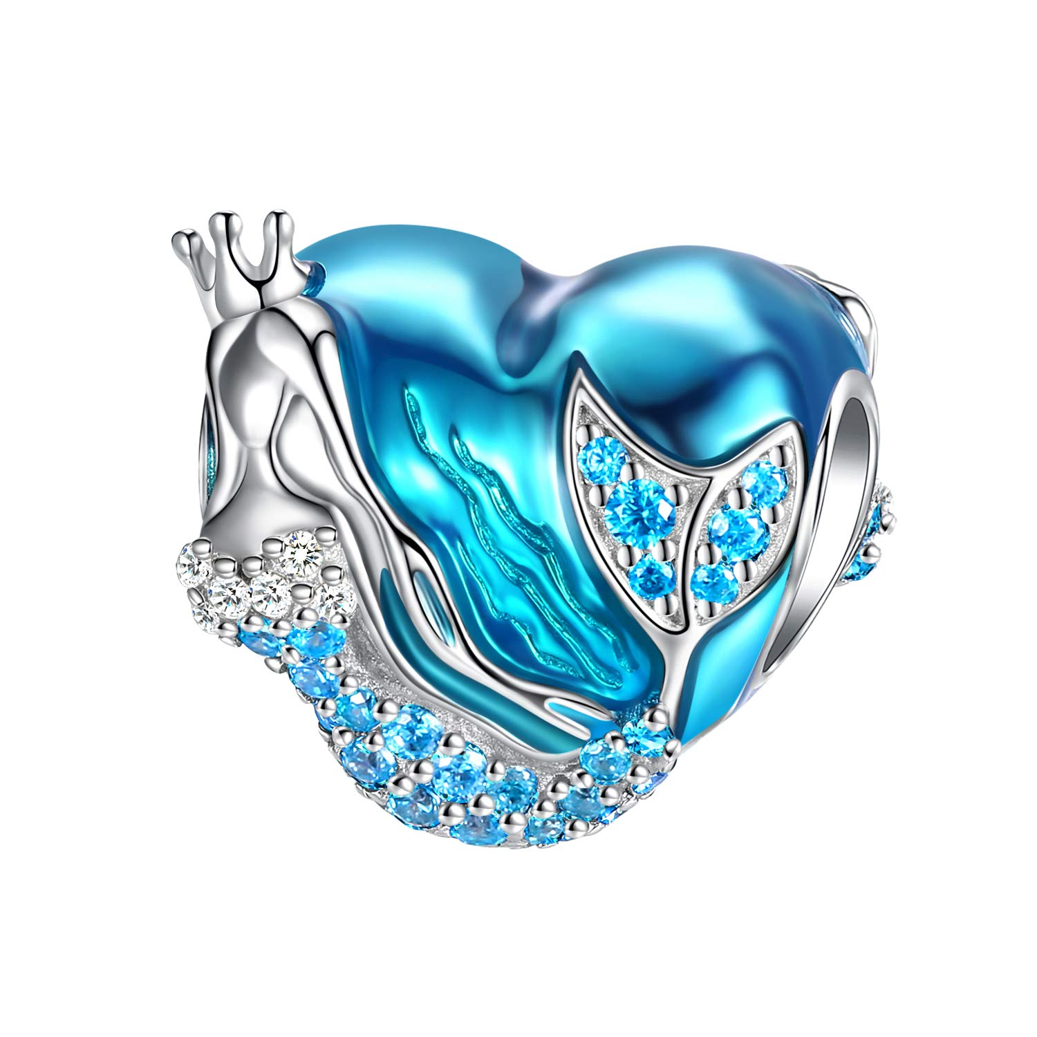 FOREVER QUEEN Mermaid Charms fit Pandora Charms Bracelet 925 Sterling Silver Charms Bead CZ Heart Shape Blue Enamel Bead Ocean Sea Charm for Snake Bracelets Necklace Women Girls Gift (Mermaid Charm) by FOREVER QUEEN
