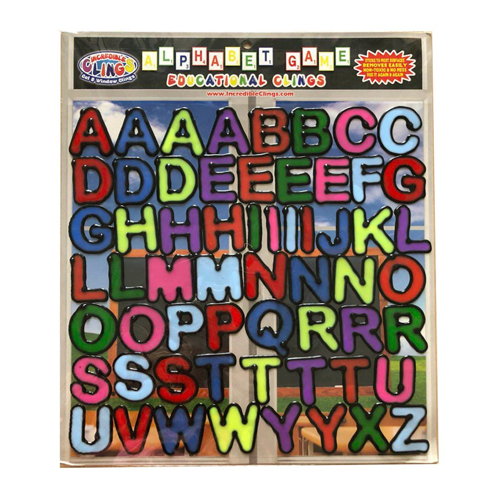 Alphabet and Letters 56 pc Gel Clings – Reusable and Removable Window and Wall Clings – Create Messages Like Welcome Home, Happy Birthday and More with Large ABC Set