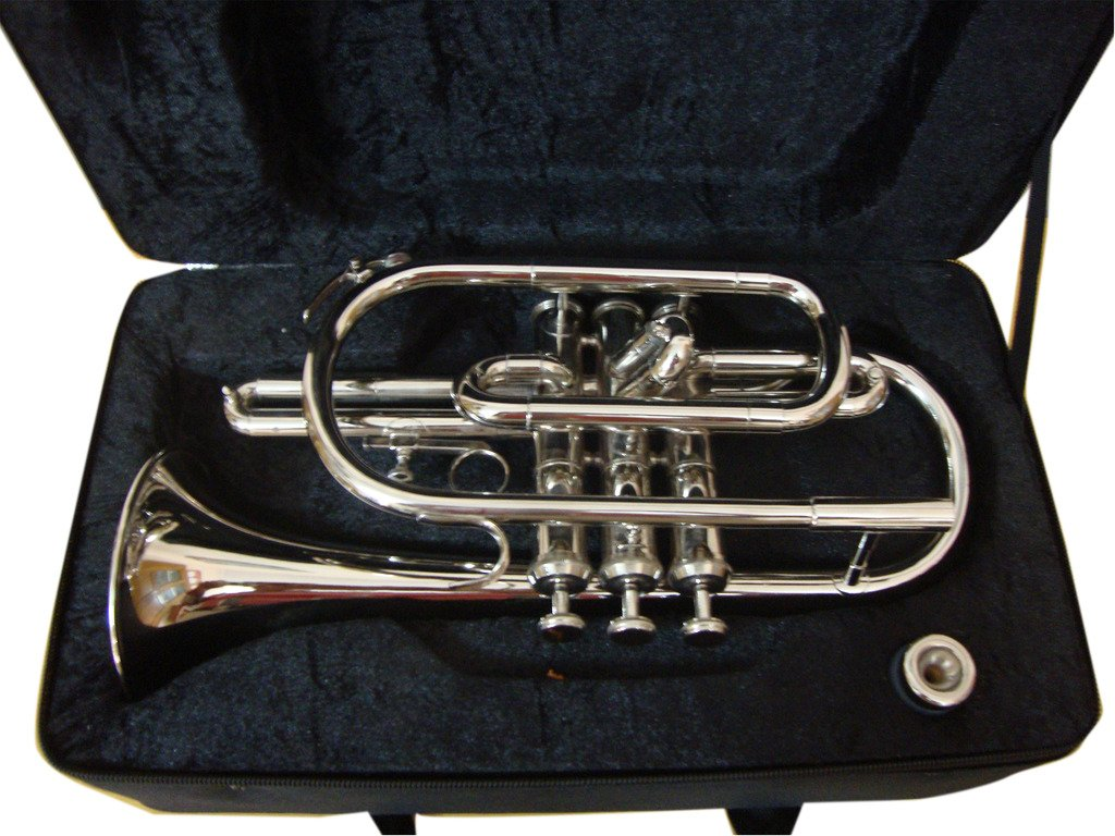 OSWAL Bb Flat Silver Nickel Cornet With Free Hard Case Mouthpiece by OSWAL