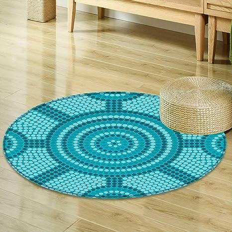 Amazon Com Mikihome Round Rug Kid Carpet Teal Decor Abstract