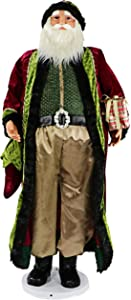 "Fraser Hill Farm 58"" Dancing Santa with Velvet Robe and Wrapped Gift, Life Size Holiday Home Decor, FASC058-2RD2, Red"