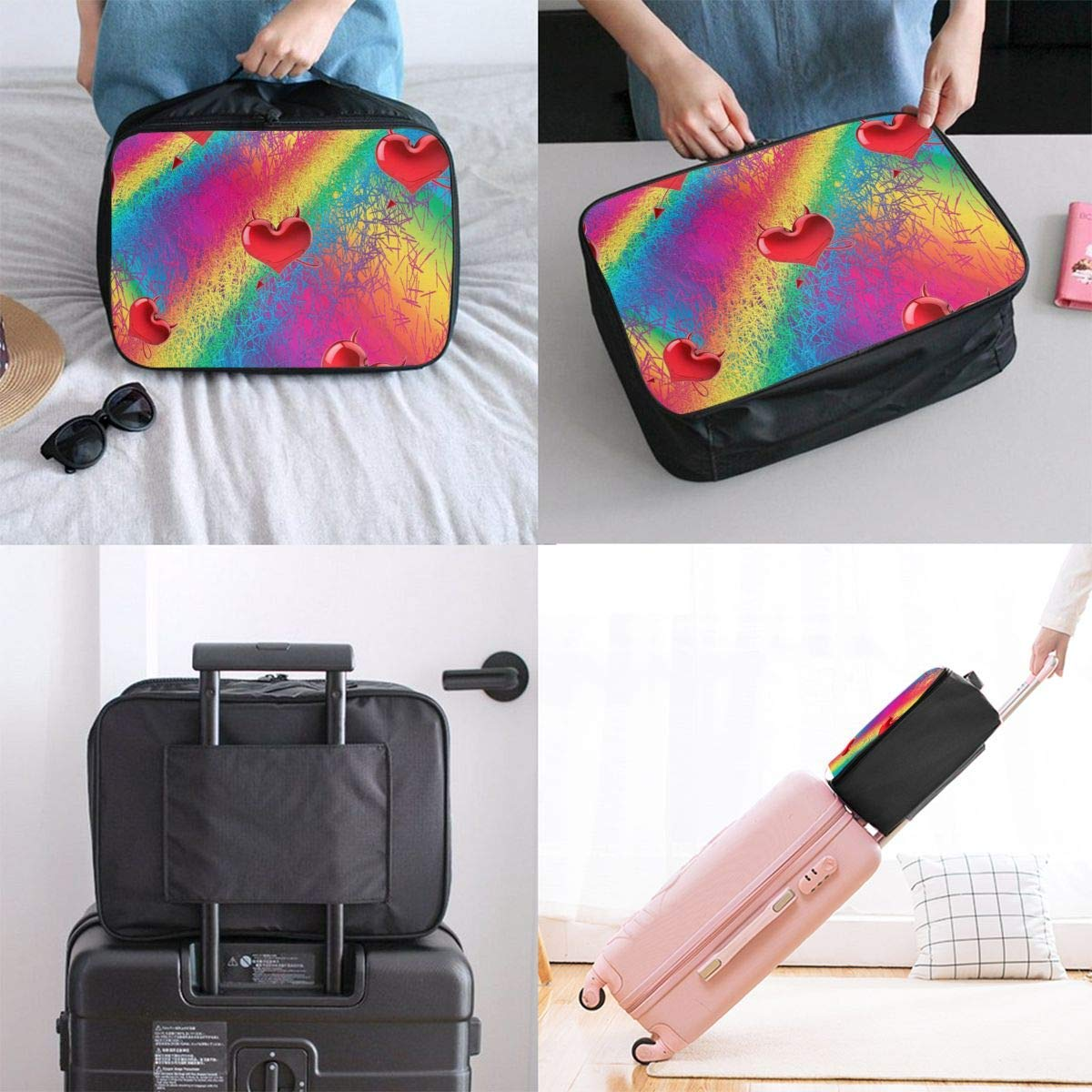 Colorful Striped Love Travel Duffel Bag Waterproof Fashion Lightweight Large Capacity Portable Duffel Bag for Men /& Women JTRVW Luggage Bags for Travel