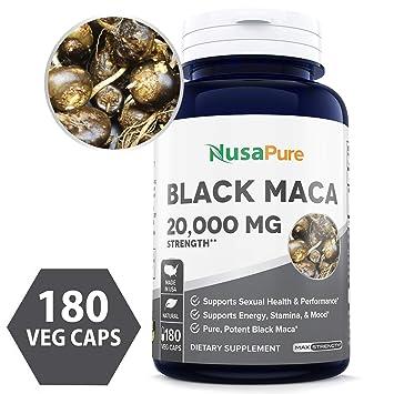 Black Maca Root 20000mg 180 Veggie Capsules (Vegetarian, Non-GMO, Gluten  Free) Max Strength, Maca