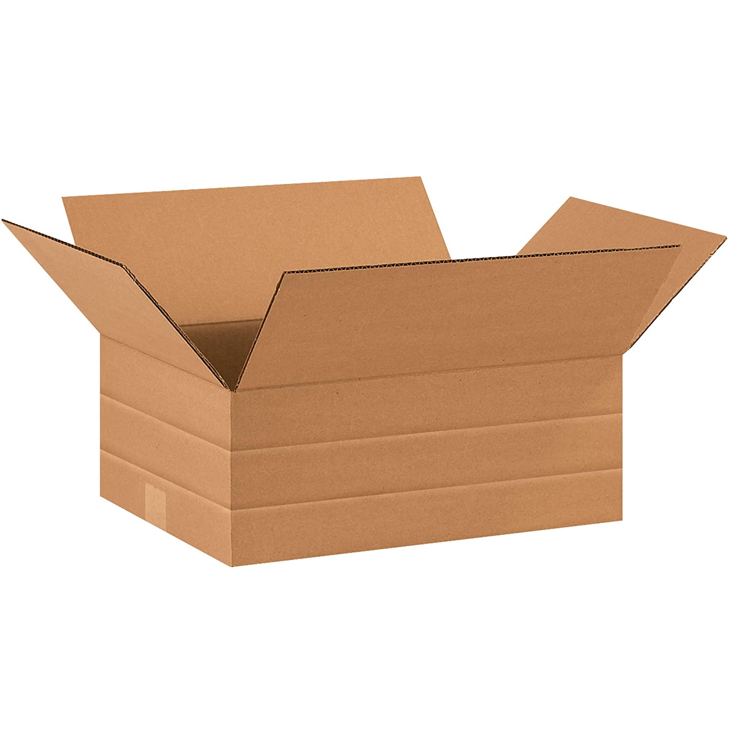 """Aviditi MD16126 Multi-Depth Corrugated Cardboard Box 16"""" L x 12"""" W x 6"""" H, Kraft, for Shipping, Packing and Moving (Pack of 25)"""
