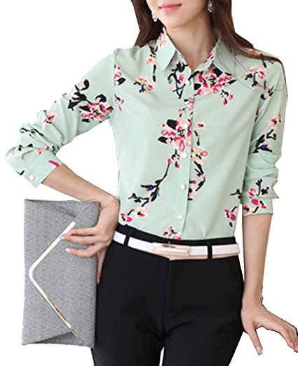 f212d79f809 Image Unavailable. Image not available for. Color  S S-Women Stylish  Elegant Long Sleeve Button Down Flower Print Shirt Blouse Tops
