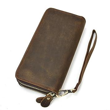 9a1f705a1bcd1 Herren Echtleder Clutch Bag Doppel-Reißverschluss Geldbörse 4 Interlayer  Zip-Around Wallet (Braun