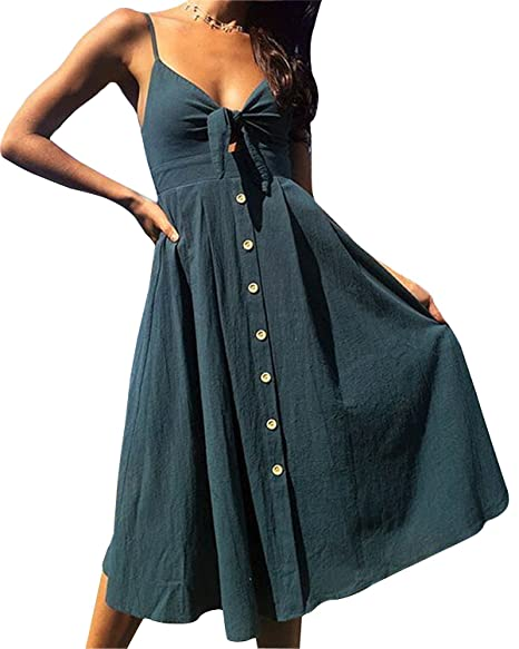 feff93dbed Women s Summer Dresses Tie Front V-Neck Spaghetti Strap Button Down A-Line  Backless