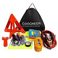 Auto Emergency Kit, Multifunktionale Pannenhilfe 24-In-1 Auto Notfall-Kit mit Starthilfekabel, Werkzeugtasche und Pannenwerkzeug, Sicherheitsweste, Abschleppseil, Taschenlampe, Reifendruckmessgeräte,