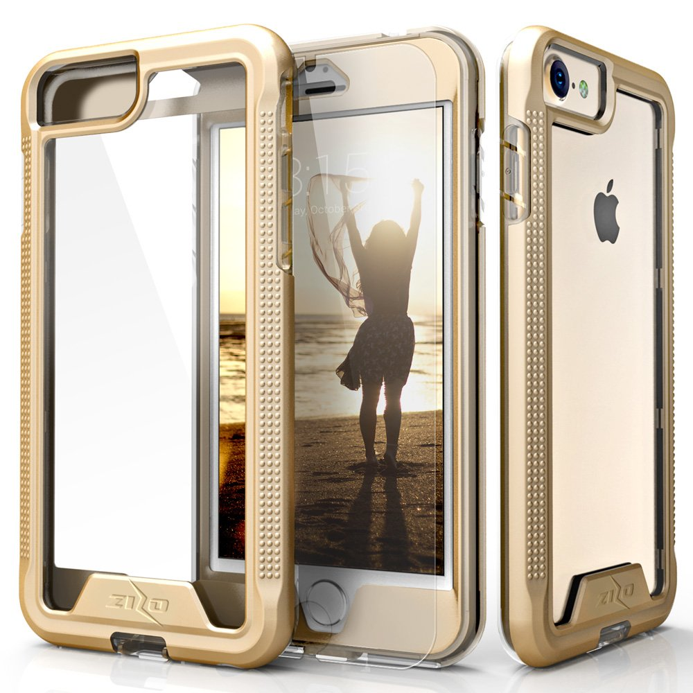 Zizo ION Series Compatible with iPhone 8 Case Military Grade Drop Tested with Tempered Glass Screen Protector iPhone 7 case Gold Clear IONC-IPH7-GDCL