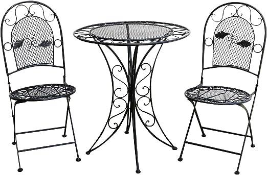 Muebles de jardín Mesa de jardín Dos sillas Metal Negro Hierro Estilo Antiguo: Amazon.es: Jardín