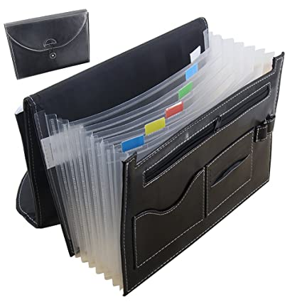 Black A4 Document Wallet PU Leather Accordion Expanding File Holder Organizer Bag 13 Pockets