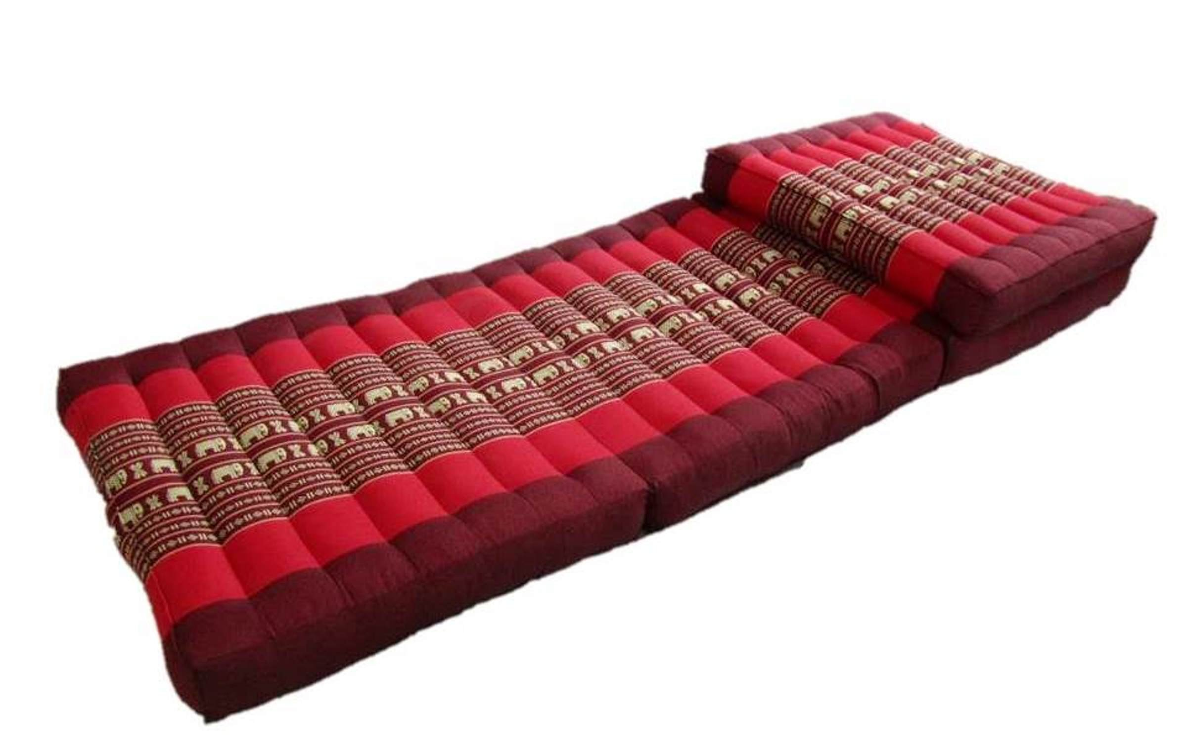 Large Kapok Stuffing Daybed Mattress Firm Folding Floor Lounge Mat 80 Inches (Elephant Raspberry)