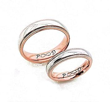 Anillo de plata personalizada con oro rosa Accent, juego de anillos de parejas, Compromiso