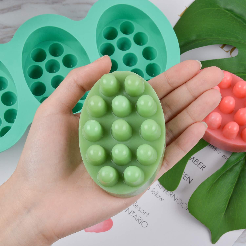 Nonstick /& BPA Free 2 Pcs Silicone Massage Bar Soap Molds Handmade Soap Molds SJ Silicone Molds for Soaps Making Blue /& Mint Green