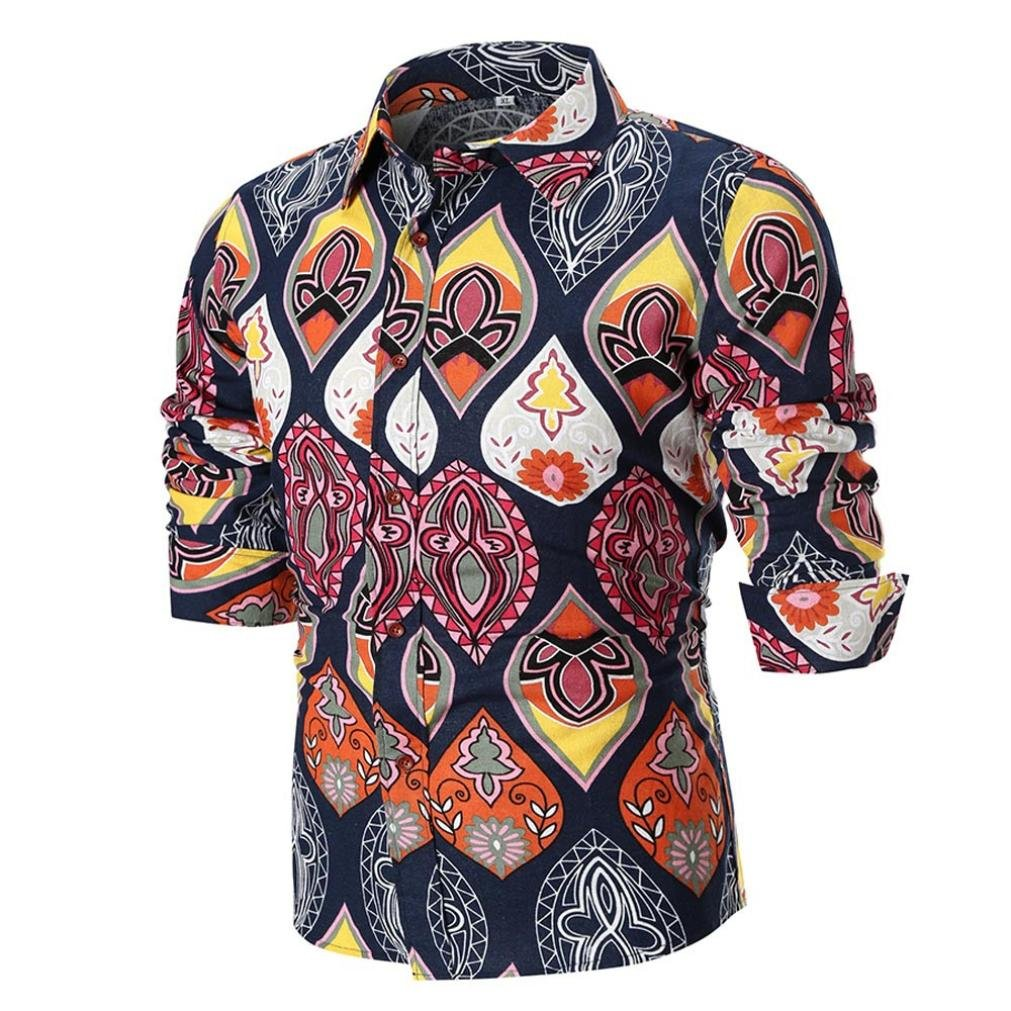 vermers Clearance Sale Men's Shirts Summer Casual Personality Slim Long Sleeve Printed Top Blouse(2XL, Multicolor)
