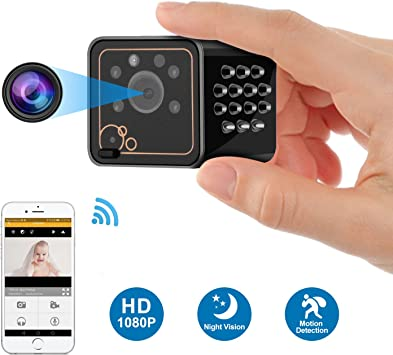 Mini Spy Camera Wireless Hidden Home WiFi Security Nanny Cameras and Hidden Cameras with Cell Phone App HD 1080P Night Vision Motion Detective