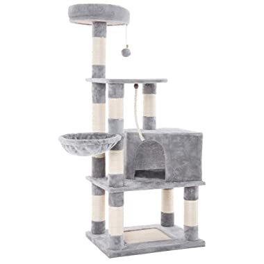 FEANDREA 58  Cat Tree Condo Tower with Scratching Posts Kitten Furniture Play House