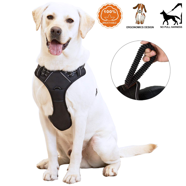 Black Medium Black Medium ANWA Walking Dog Harness No Pull Dog Vest Harness Durable, Dog Running Harness Reflective Medium Black
