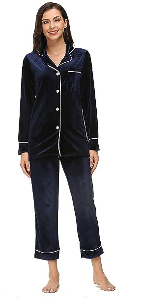 39056daaec2 Kiddom Womens Velvet Pajamas Set Loungewear Warm Fleece Winter Autumn Long  Sleeve Sleepwear with Pockets Blue