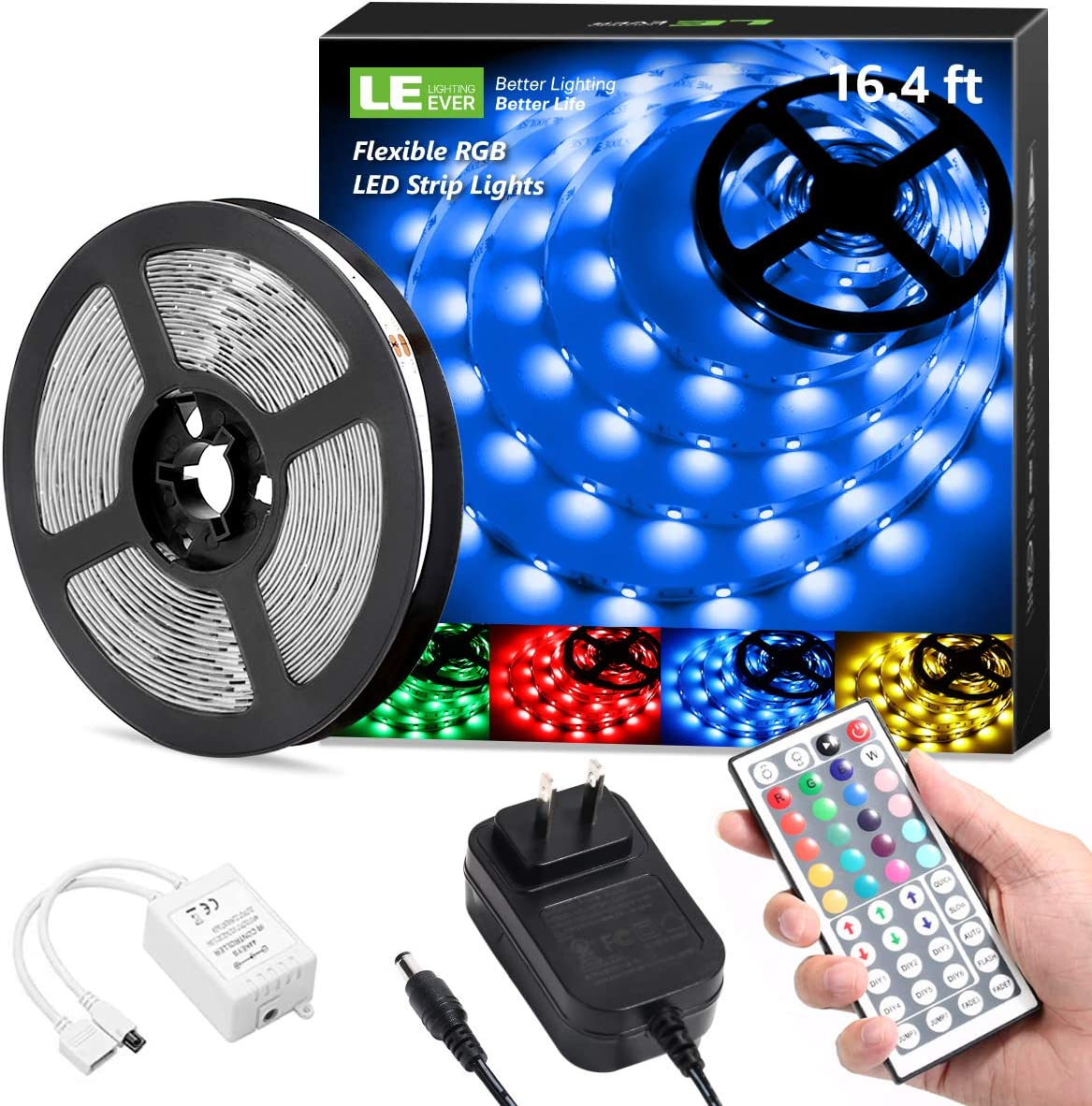 5050 Black LED Tape Light with 44 Keys RF Remote and 12V Power Supply for Kitchen Led Strip Lights 16.4ft Waterproof RGB Color Changing Light Strips Bedroom Party